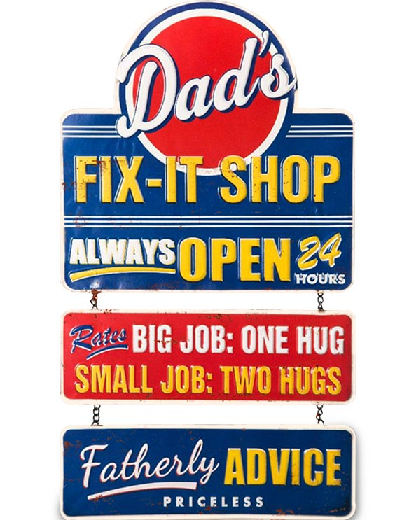 Men's Republic Retro Metal Sign - Dad's Fix-It Shop