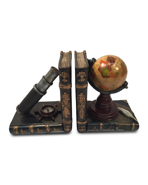Men's Republic Desktop Décor - Vintage Telesopic and Globe Bookends