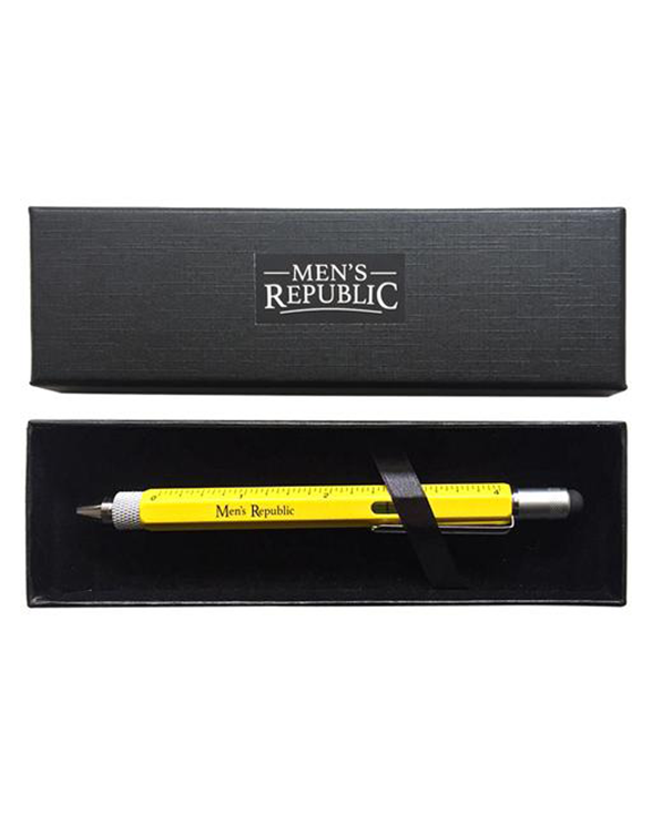 Men's Republic Stylus Pen Pocket Multi Tool 9-in-1  functions - Yellow