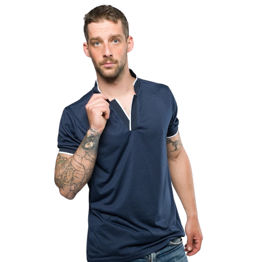 Cipriano Mandarin Collar Polo Shirt