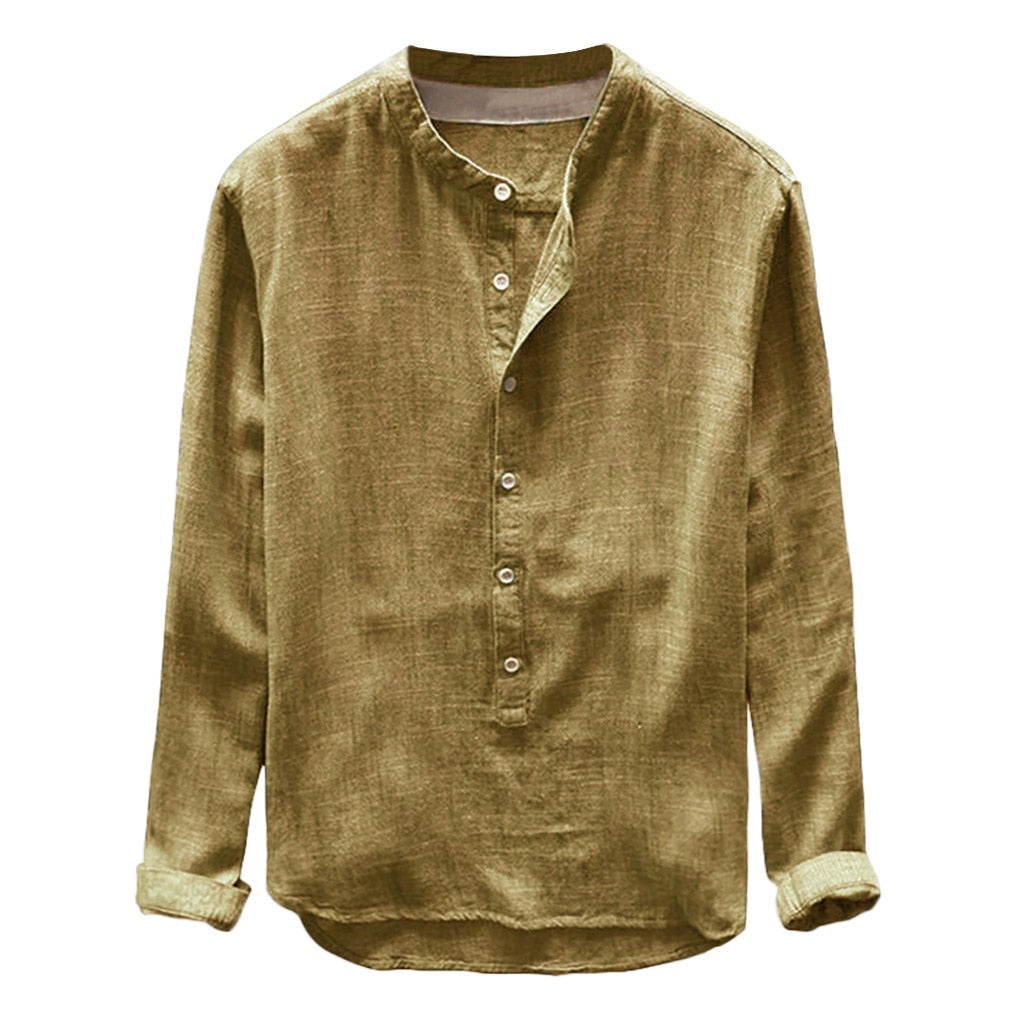 Henley Collar Linen Shirt