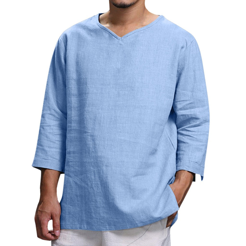 Comfortable Long Sleeve Linen Blend Shirt