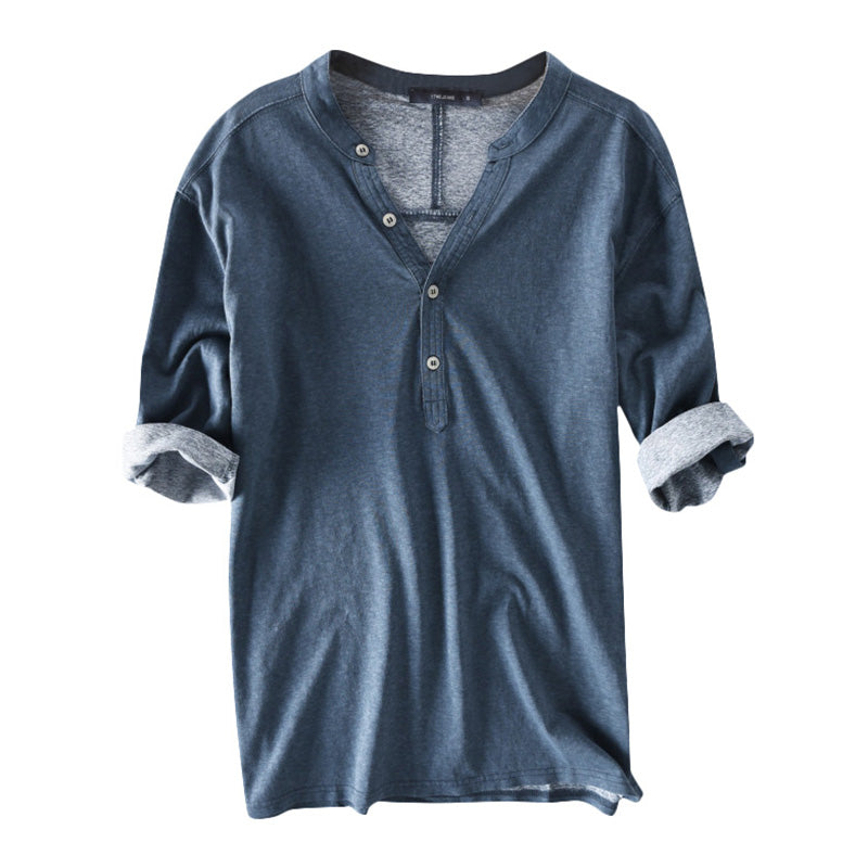 Henley Collar Button T-Shirt