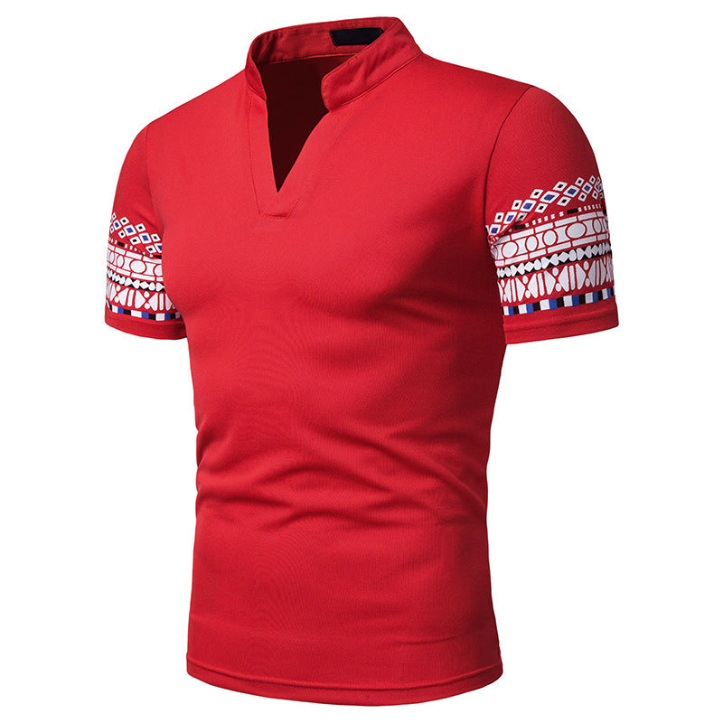 Moreno Mandarin Collared V-Neck Polo Shirt
