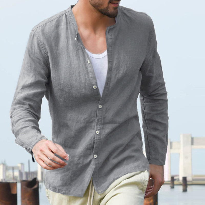 Bellanti Lightweight Collarless Button-Down Shirt