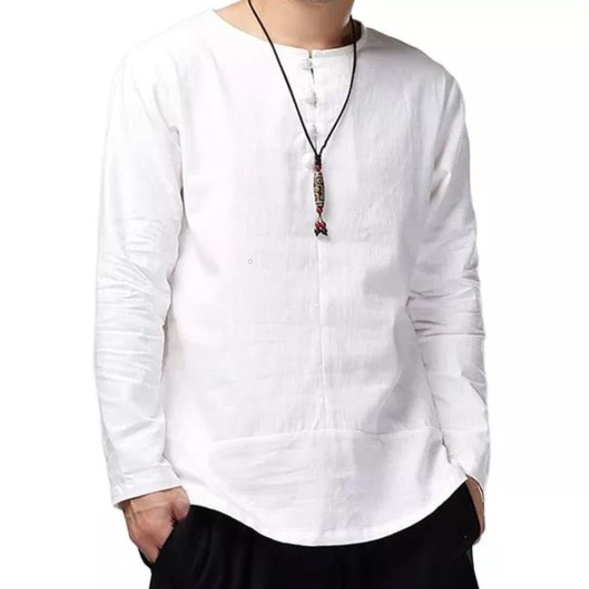 Breathable Linen Blend Long Sleeve Shirt