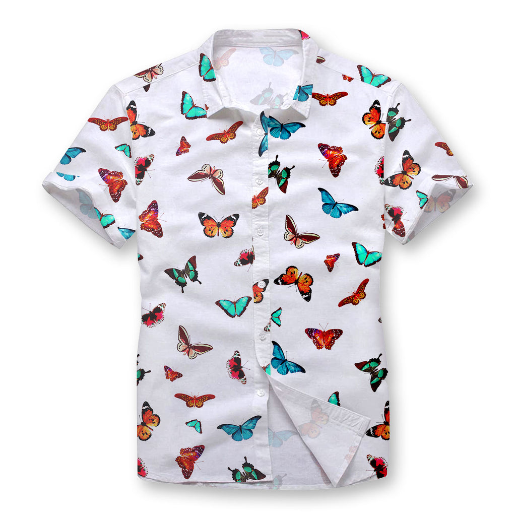 Colorful Butterfly Button Shirt