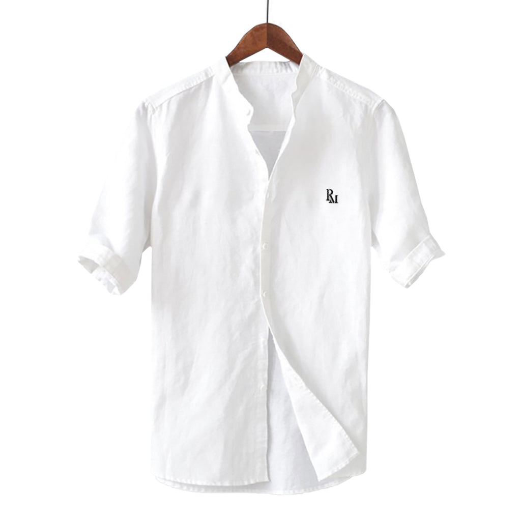 Simple Casual Embroidered Linen Blend Shirt
