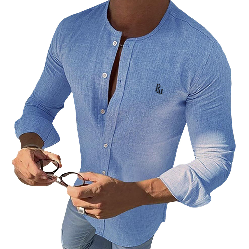 Mandarin Collar Long Sleeve Embroidered Button Shirt