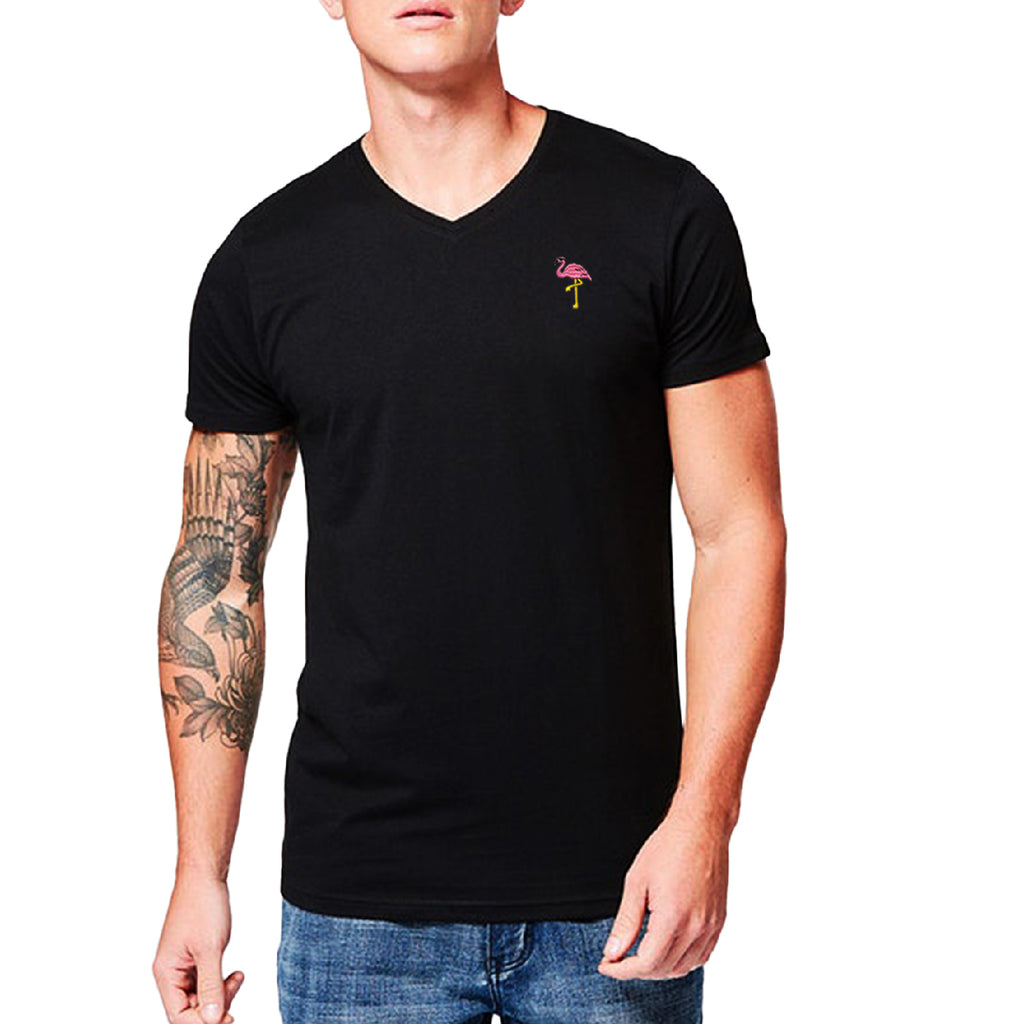 Flamingo Embroidered V-Neck T-Shirt