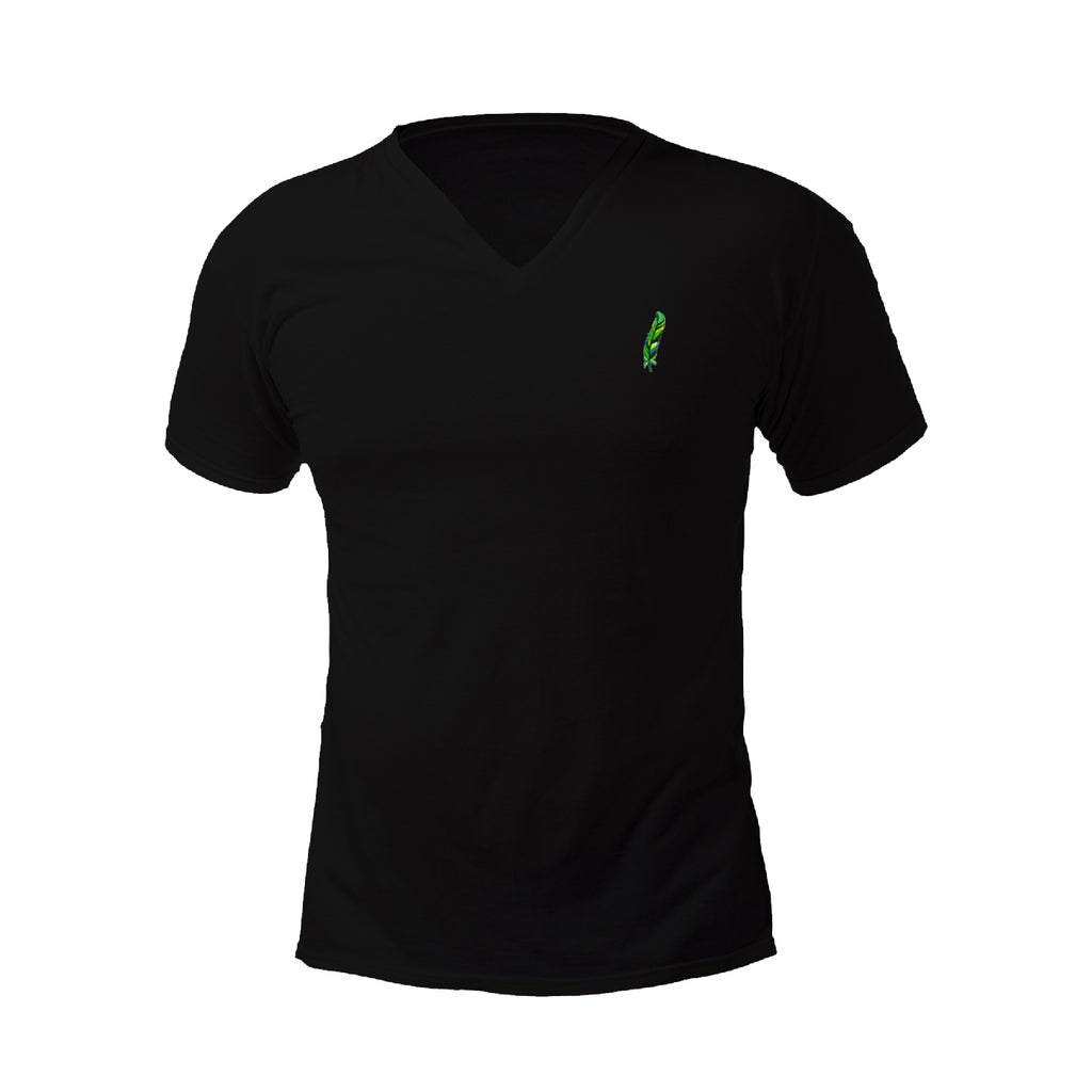 Green Feather Embroidered V-Neck T-Shirt