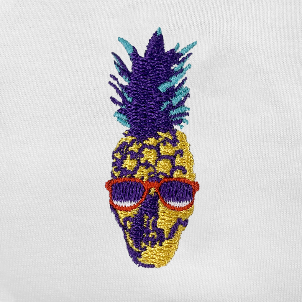 Pineapple Skull Embroidered V-Neck T-Shirt