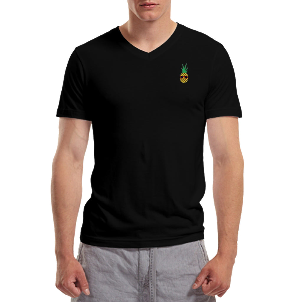 Pineapple Embroidered V-Neck T-Shirt