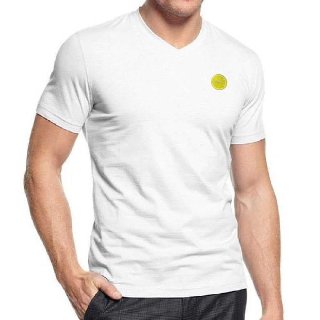 Citron Embroidered V-Neck T-Shirt
