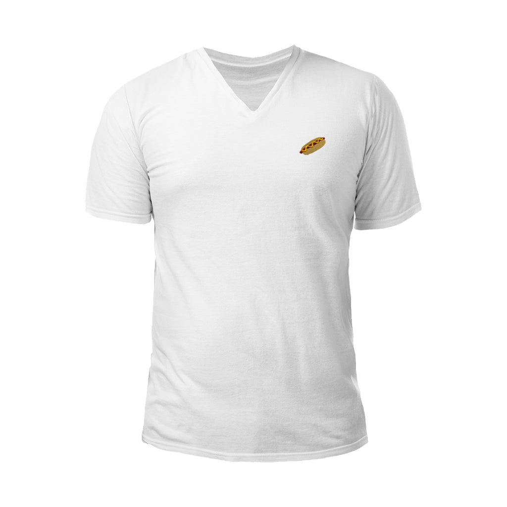 Hot Dog Embroidered V-Neck T-Shirt