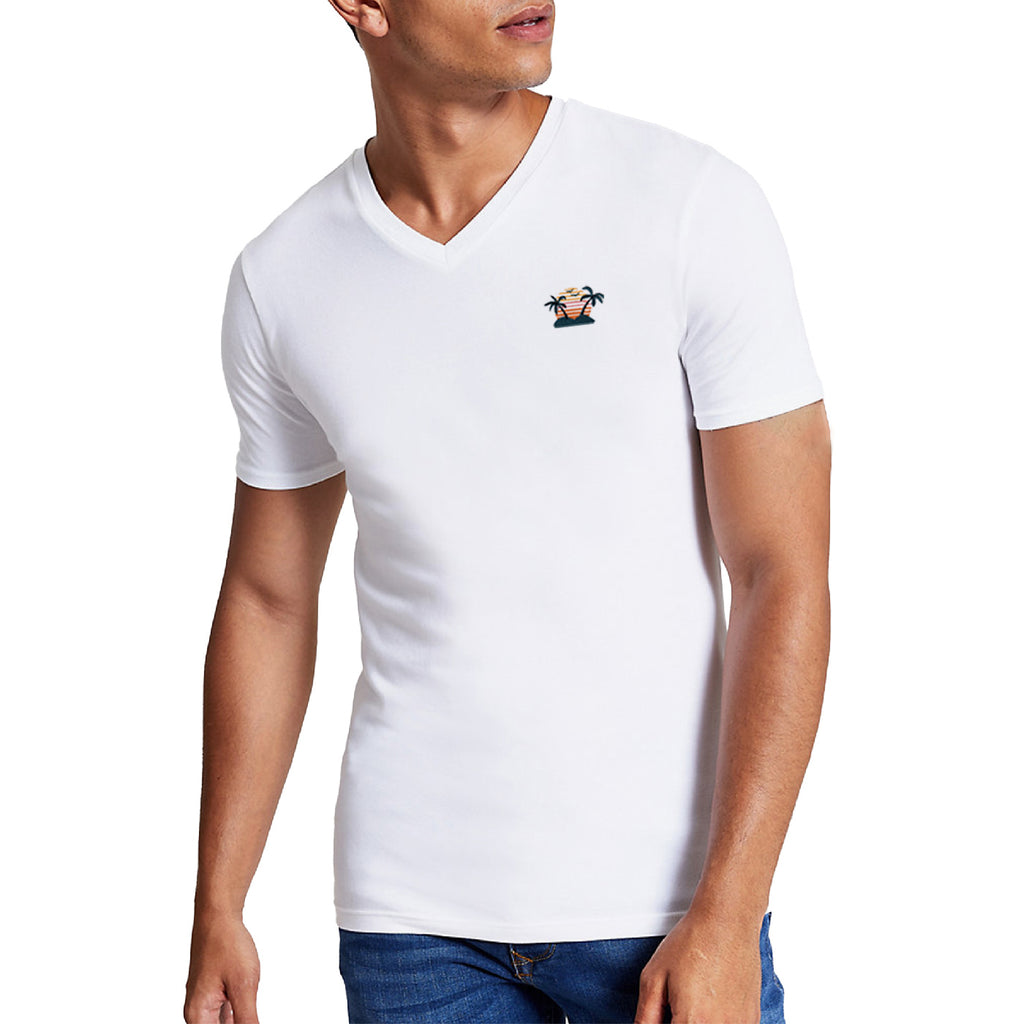 Island Embroidered V-Neck T-Shirt