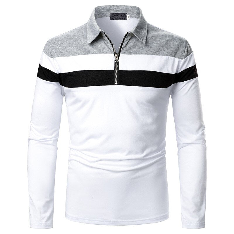 Long Sleeve Zipper Polo Shirt