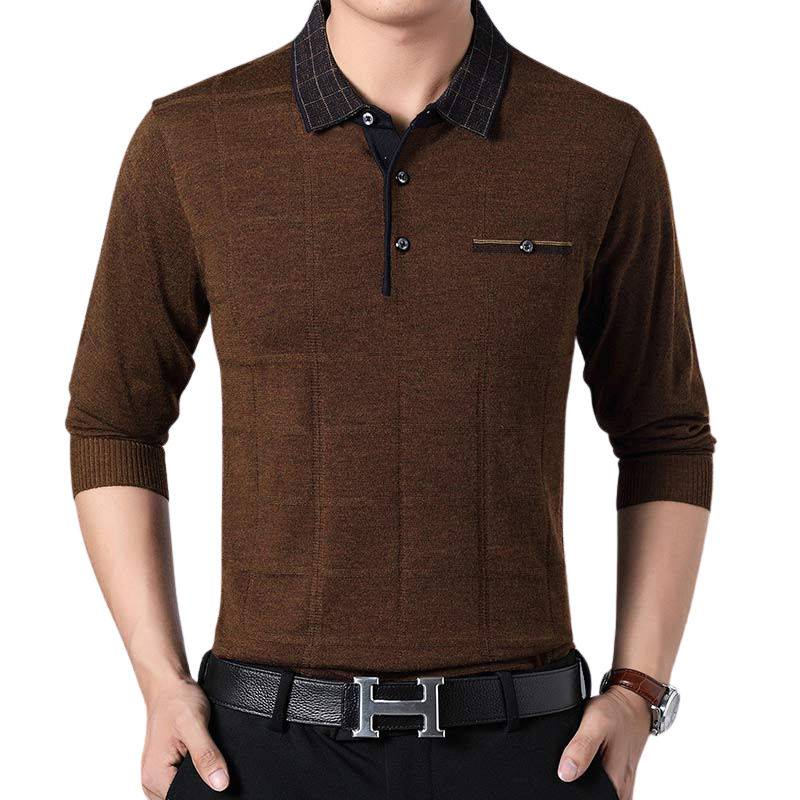 Buttoned Long Sleeve Polo Shirt