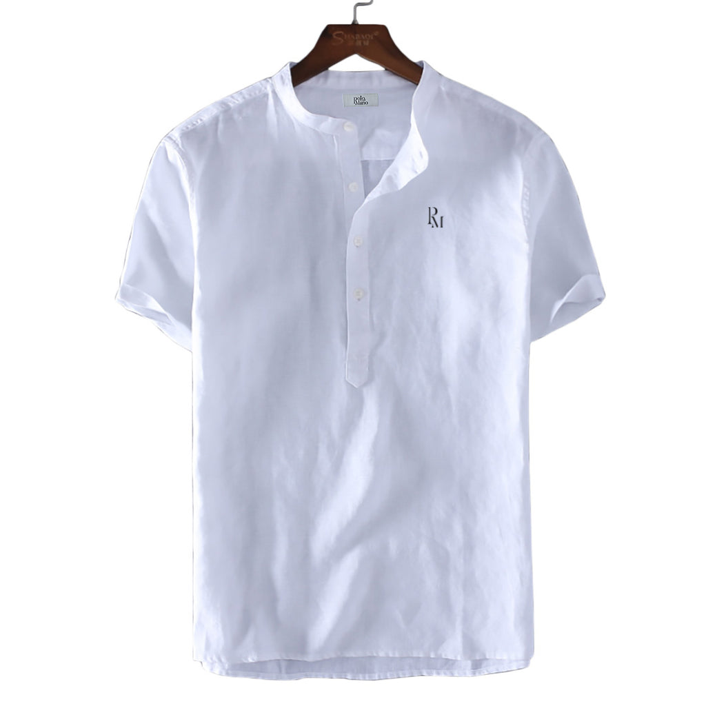 Polomano Embroidered O-Neck Short-Sleeved Henley