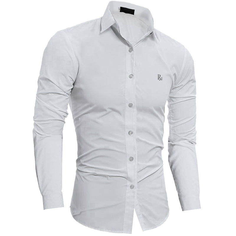 Polomano Embroidered Plain Slim Fit Button Shirt