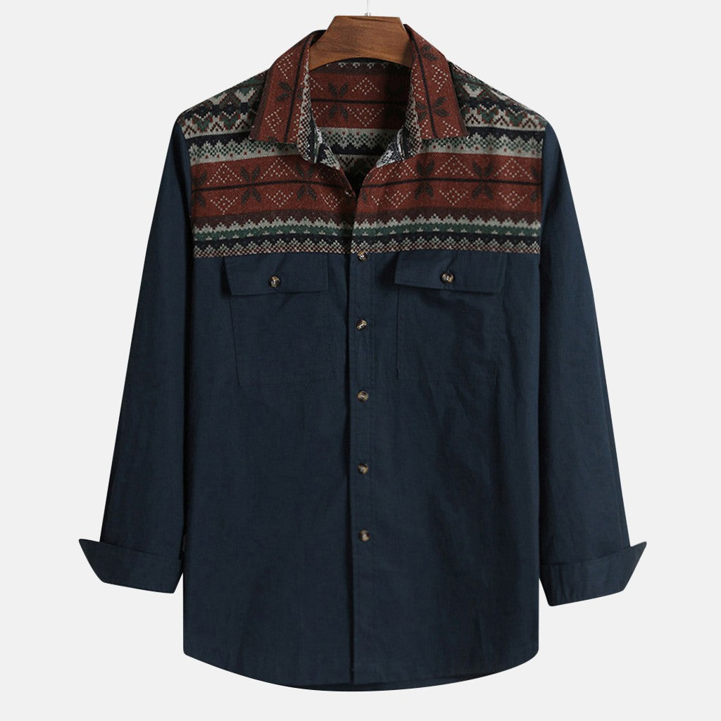 Native Patterned Button-Down Shirt