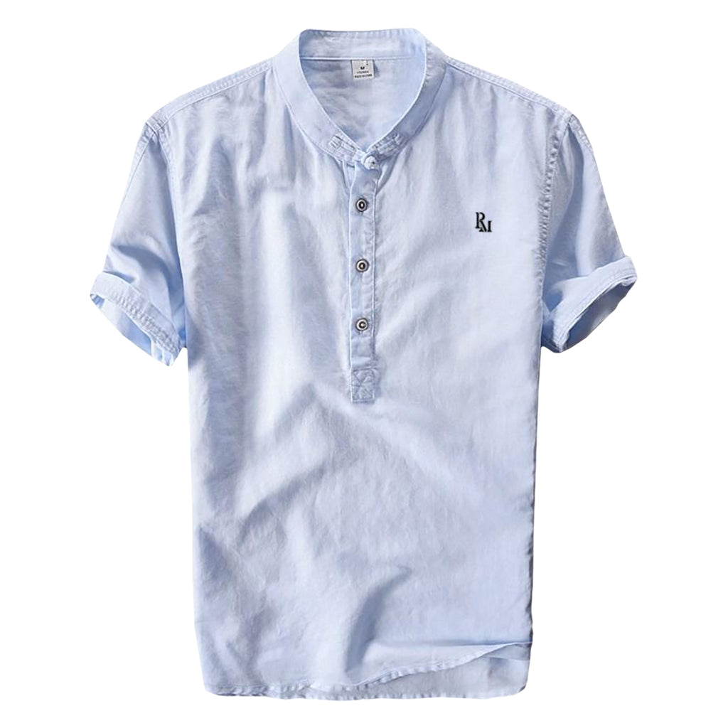 Polomano Embroidered Mandarin Collar Shirt