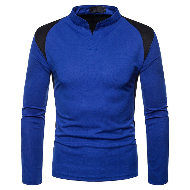 Patchwork Long Sleeve Polo Shirt