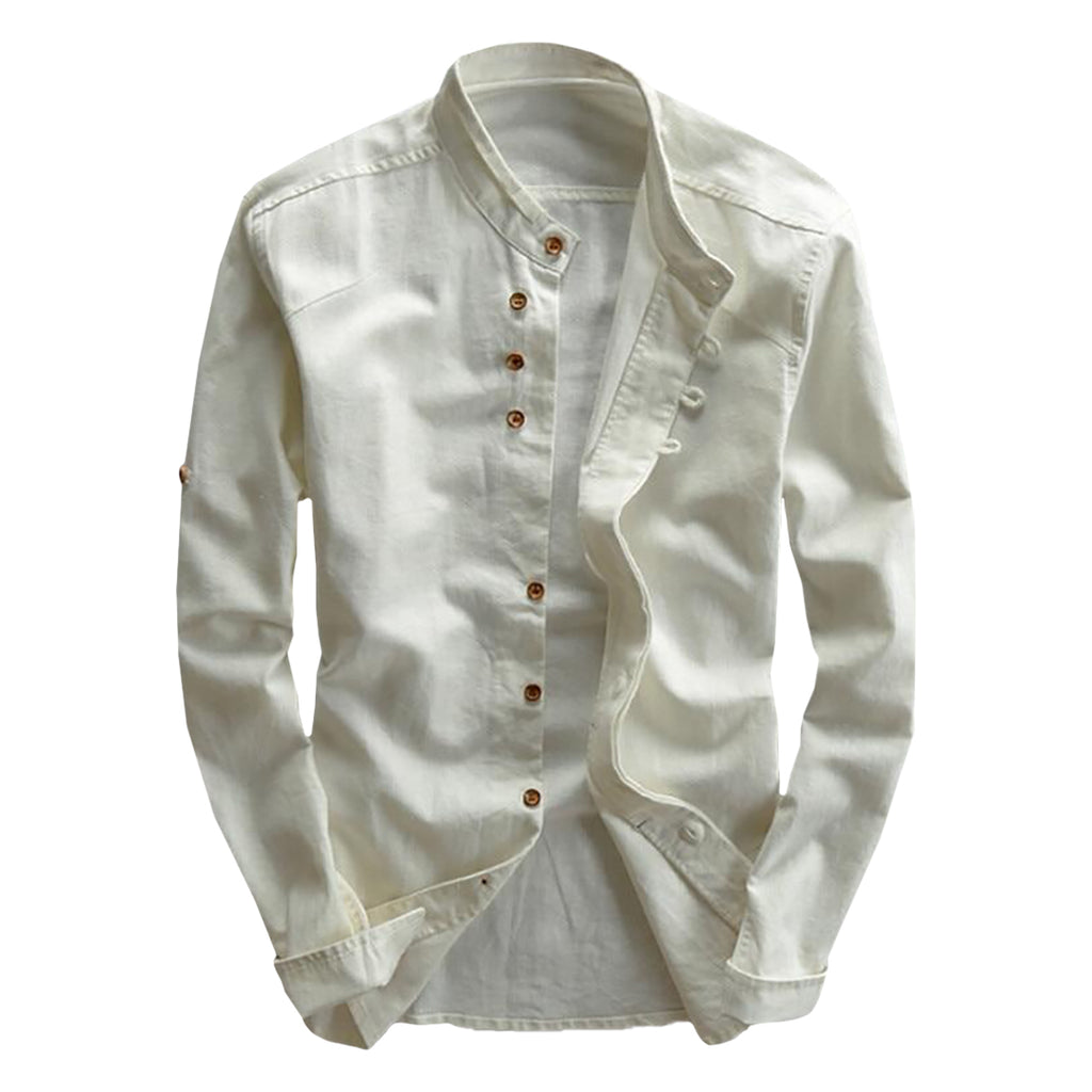 Long Sleeve Mandarin Linen Blend Shirt
