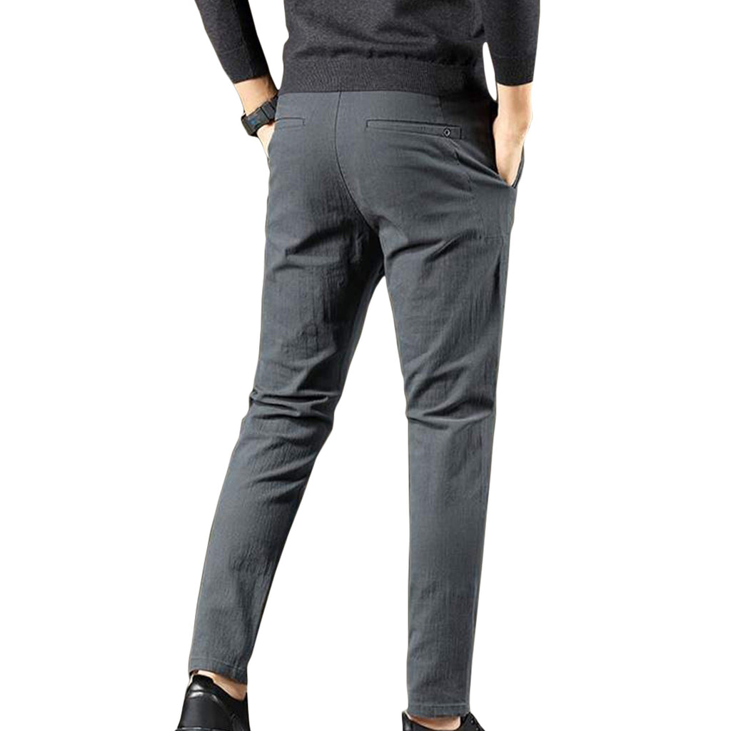 Solid Elastic Casual Pants