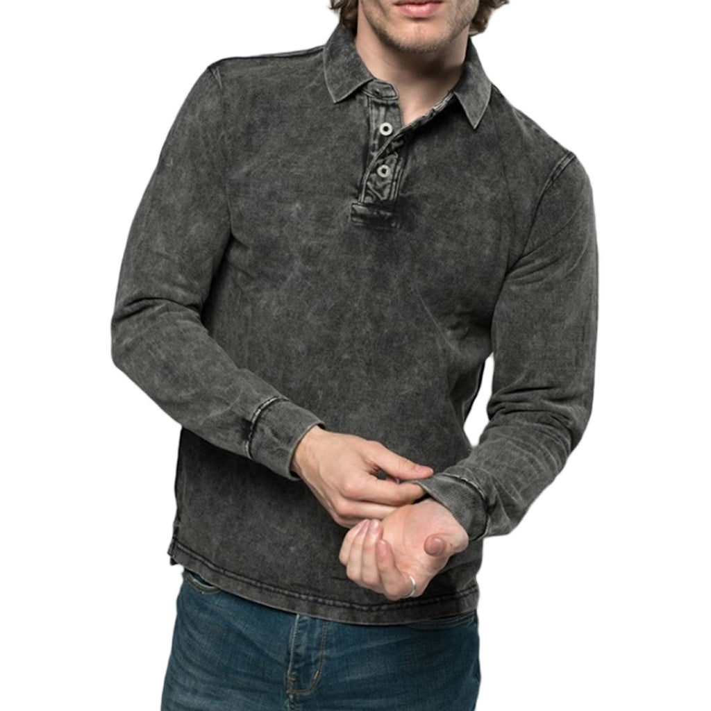 Mesh Long Sleeve Polo Shirt