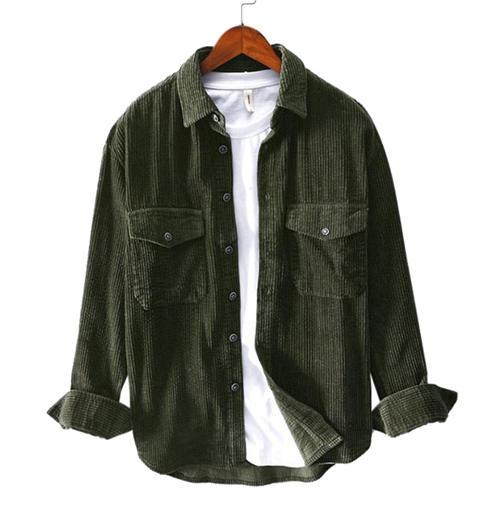 Loose Corduroy Button-Down Shirt