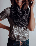 Load image into Gallery viewer, Heathered Black Infinity Knit Scarf