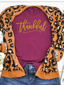 Maroon Thankful Tee