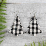 Load image into Gallery viewer, Black and White Buffalo Plaid Christmas Tree Earrings