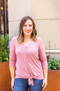 Dusty Rose Tie Front Button Top