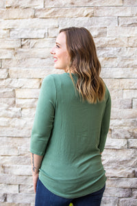 Sage Front Tie Button Up Top