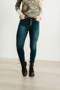 Judy Blue Button Fly Dark Wash Skinny Jeans