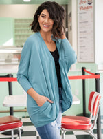 Load image into Gallery viewer, Dusty Teal Cocoon Cardigan