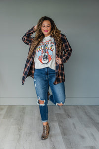 Navy Plaid Flannel Top