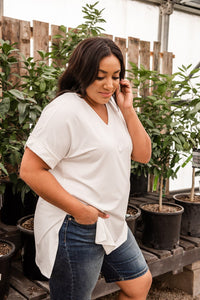 Basic White V-Neck Top