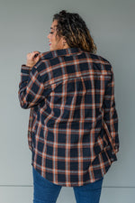 Load image into Gallery viewer, Navy Plaid Flannel Top