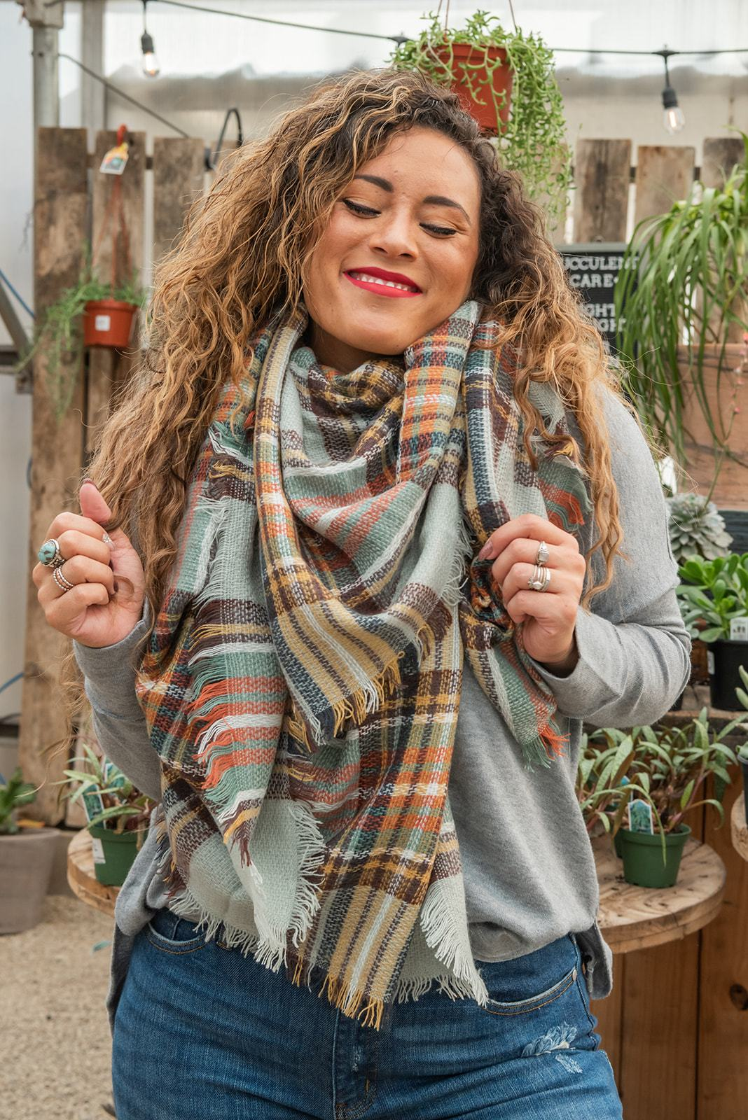 Plaid Blanket Scarf - Multiple Colors