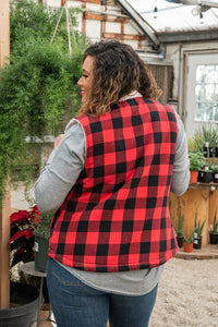 Red and Black Buffalo Plaid Sherpa Vest