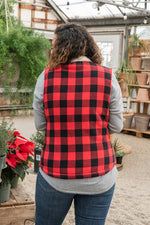 Load image into Gallery viewer, Red and Black Buffalo Plaid Sherpa Vest