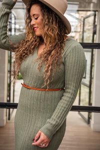 Olive Sweater Dress