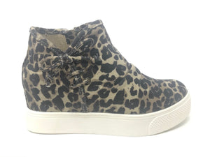 Leopard Canvas Wedge Sneaker