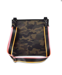 NEOPRENE CROSS BODY BAG • Fully lined • Front & interior pocket • Zipper closure • Includes 2 adjustable straps  Dimensions: Tote: 12x12x2 Material: Neoprene (The same material that wet-suits are made of.) Colors: Green Camo