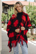 Load image into Gallery viewer, Buffalo Plaid Tassel Poncho