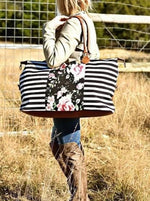 Load image into Gallery viewer, Floral Stripe Weekender Bags