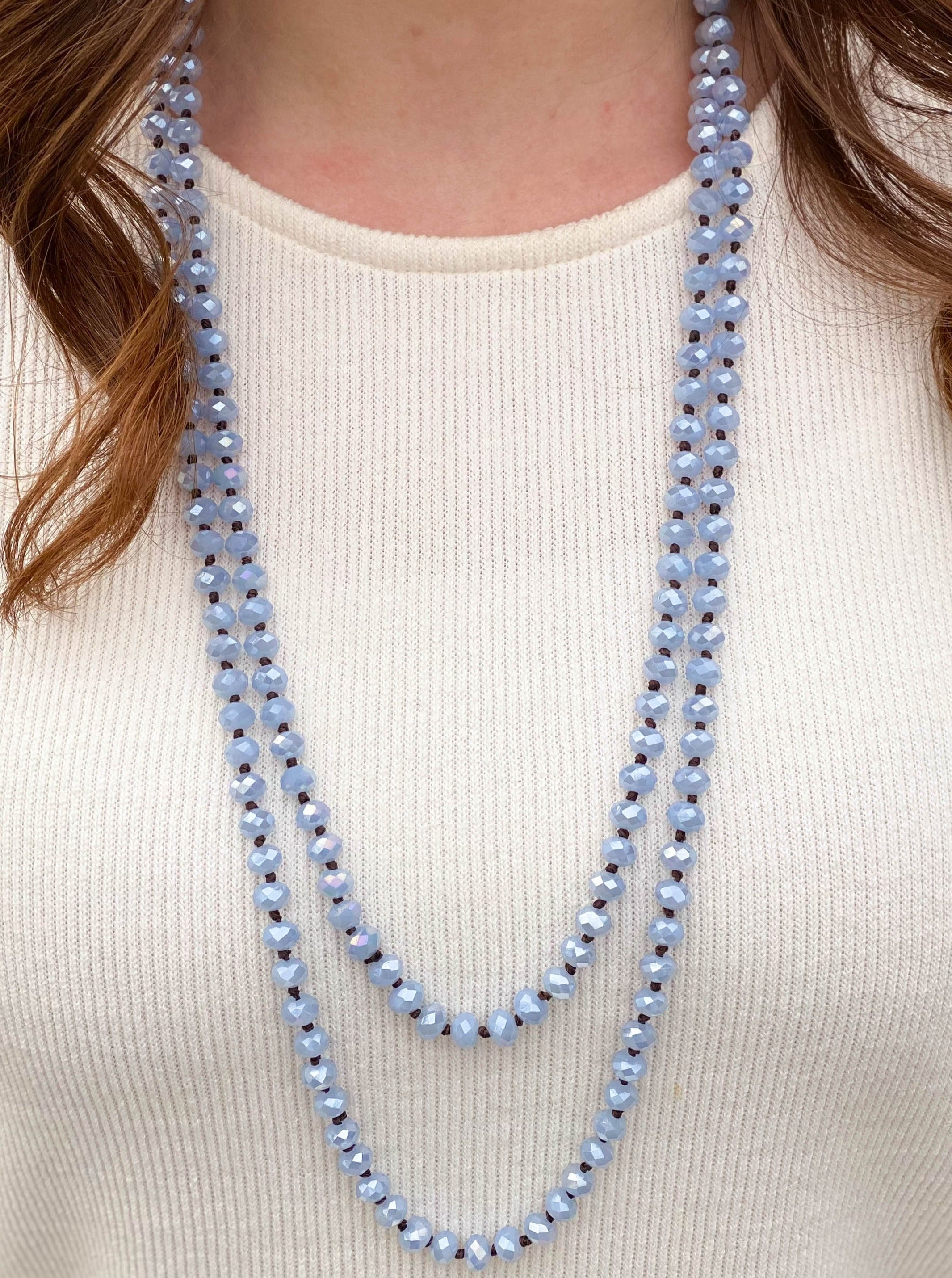 60 inch Dusty Blue Beaded Necklace